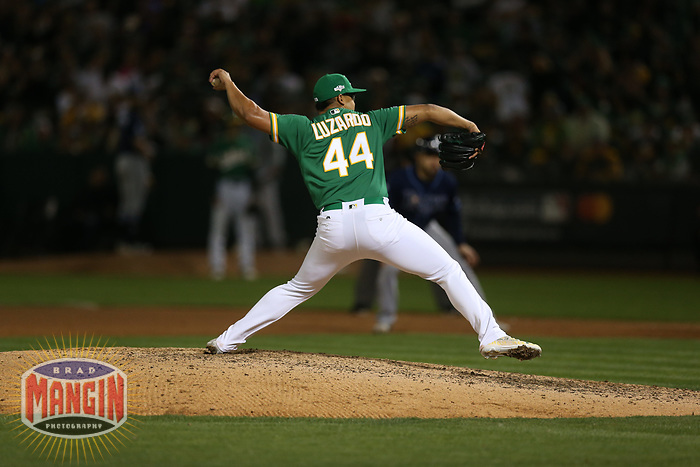OAKLAND, CA - OCTOBER 02:  Jesus Luzardo #44 of the Oakland Athletics pitches against the Tampa Bay Rays during the American League Wild Card Game at RingCentral Coliseum on Wednesday, October 2, 2019 in Oakland, California. (Photo by Brad Mangin)