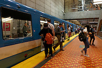People boarding and getting off a Metro subway train in Montreal, Quebec, Canada