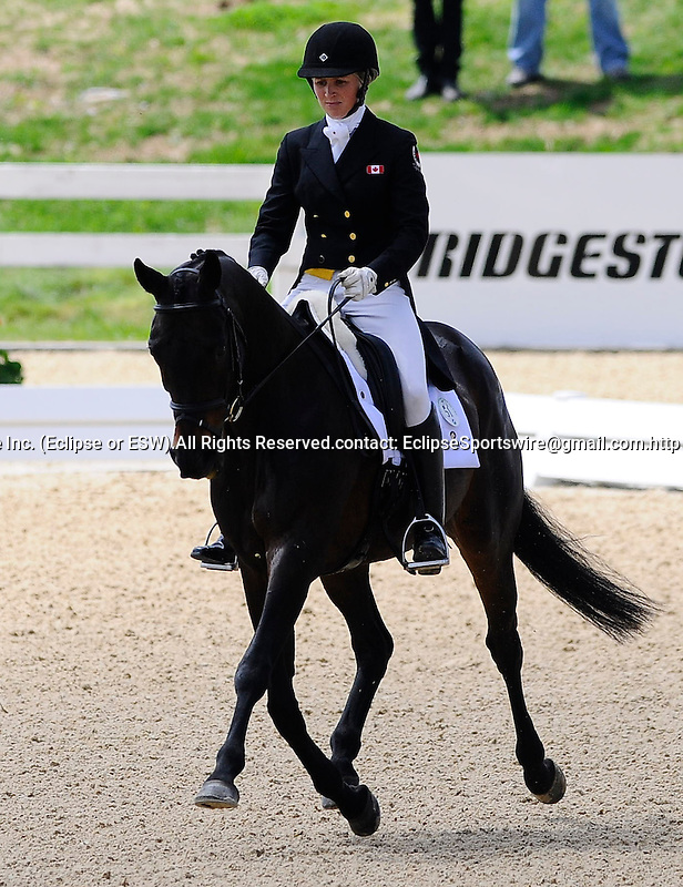Jessica PhoenixCAN), competing on EXPONENTIAL, during the Dressage Test at the Rolex 3-Day 4-Star Event at the Kentucky Horse Park in Lexington, Kentucky on April 29, 2011.