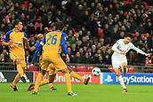6th December 2017, Wembley Stadium, London England; UEFA Champions League football, Tottenham Hotspur versus Apoel Nicosia; Son Heung-Min of Tottenham Hotspur shoots and scores making it 2-0
