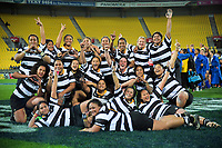 Ories players celebrate winning the Wellington Rugby Rebecca Liua'ana Trophy women's rugby match between Oriental-Rongotai and Northern United at Westpac Stadium in Wellington, New Zealand on Friday, 17 May 2019. Photo: Dave Lintott / lintottphoto.co.nz