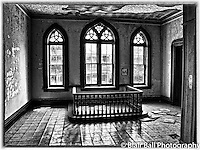 Vicksburg abandoned balcony in b&w, in the heart of downtown Vicksburg Mississippi.