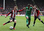 Mark Duffy of Sheffield Utd and Greg Cunningham of Preston North End during the championship match at the Bramall Lane Stadium, Sheffield. Picture date 28th April 2018. Picture credit should read: Simon Bellis/Sportimage