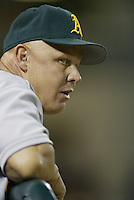 Oakland Athletics coach Mike Quade during a 2002 MLB season game against the Los Angeles Angels at Angel Stadium, in Anaheim, California. (Larry Goren/Four Seam Images)