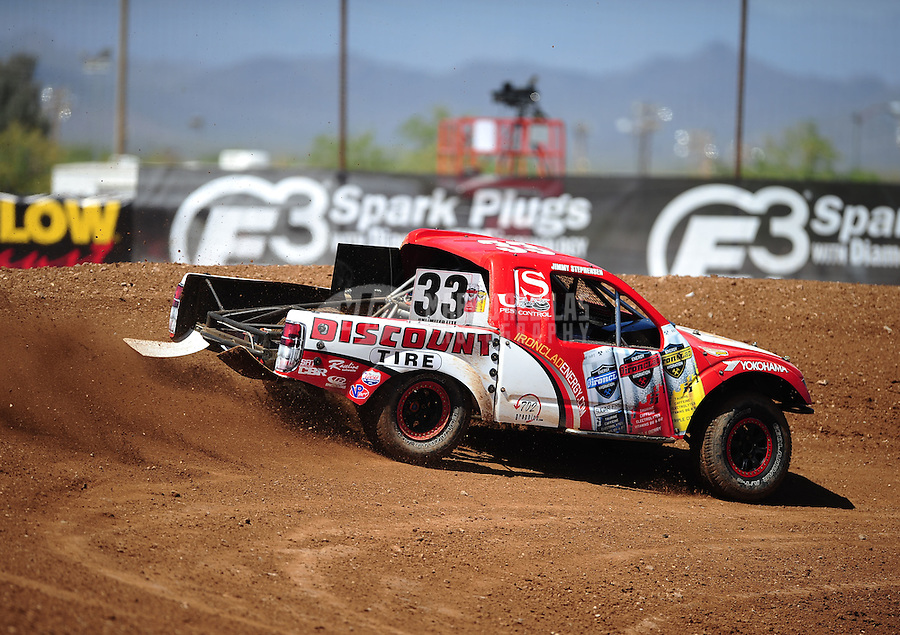 Apr 15, 2011; Surprise, AZ USA; LOORRS driver Jimmy Stephensen (33) during round 3 and 4 at Speedworld Off Road Park. Mandatory Credit: Mark J. Rebilas-.