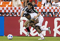 US Open Cup Quarterfinal, United defender Joshua Gros (17) fights for posession of the ball against Red Bulls defender Marwell Wynne (2). DC United defeated the New York Red Bulls 3-1, Wednesday, August 23, 2006 at RFK Stadium.
