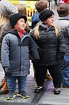 """Alex Johnston and Amber Johnston fromThe cast of TLC's """"7 Little Johnstons"""" filming promoting filming a visit to Times Square on January 4, 2019 in New York City."""