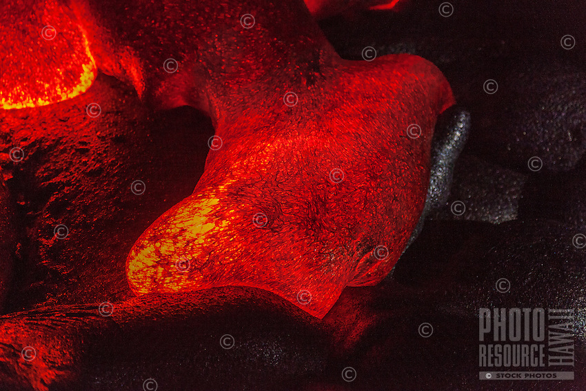 A close-up of a lava tongue at night near Kalapana on the Big Island of Hawai'i.
