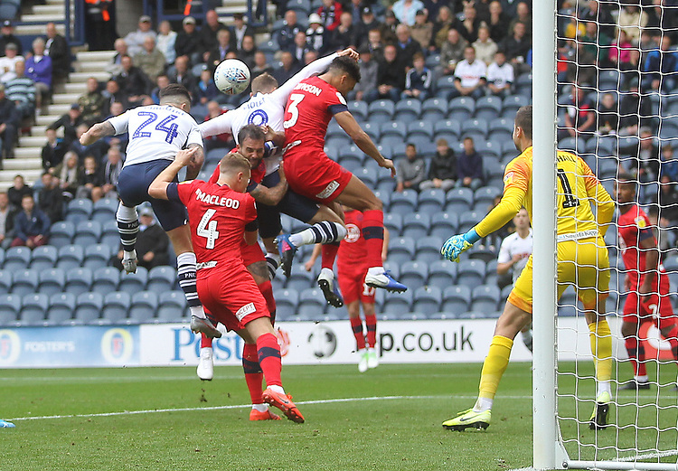 Preston North End's Sean Maguire scores his sides first goal  <br /> <br /> Photographer Mick Walker/CameraSport<br /> <br /> The EFL Sky Bet Championship - Preston North End v Wigan Athletic - Saturday 10th August 2019 - Deepdale Stadium - Preston<br /> <br /> World Copyright © 2019 CameraSport. All rights reserved. 43 Linden Ave. Countesthorpe. Leicester. England. LE8 5PG - Tel: +44 (0) 116 277 4147 - admin@camerasport.com - www.camerasport.com