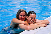 Turkey, Province Antalya, young couple in the swimming pool