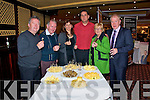 Tasting: Johnny & Paddy Duggan from Listowel, Dr Agnes Madarassy & Lsit Loriant from Hungary, Angela Gilchrist, Dowmpatrick and Jimmy Deenihan,TD., tasting some of the exquisite cheeses on display at the Listowel Food Fair on Friday night.