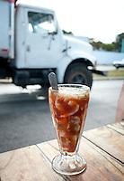 "A shrimp ""coctail"" on a roadside stand.  Truckers will often stop for one between breakfast and lunch. Cocteleria El Tigre, Champotòn, Campeche, Mexico"