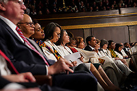 FEBRUARY 5, 2019 - WASHINGTON, DC: Democratic legislators wore white to the State of the Union at the Capitol in Washington, DC on February 5, 2019.<br /> Credit: Doug Mills / Pool, via CNP /MediaPunchCAP/MPI/RS<br /> ©RS/MPI/Capital Pictures