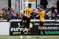 Blair Turgott leaps into the arms of goalscorer, Jack Powell, to celebrate Maidstone's second goal during Maidstone United vs Havant and Waterlooville, Vanarama National League Football at the Gallagher Stadium on 9th March 2019