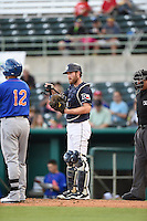 ***Temporary Unedited Reference File***San Antonio Missions catcher Rocky Gale (17) during a game against the Midland RockHounds on April 21, 2016 at Nelson W. Wolff Municipal Stadium in San Antonio, Texas.  Midland defeated San Antonio 9-2.  (Mike Janes/Four Seam Images)