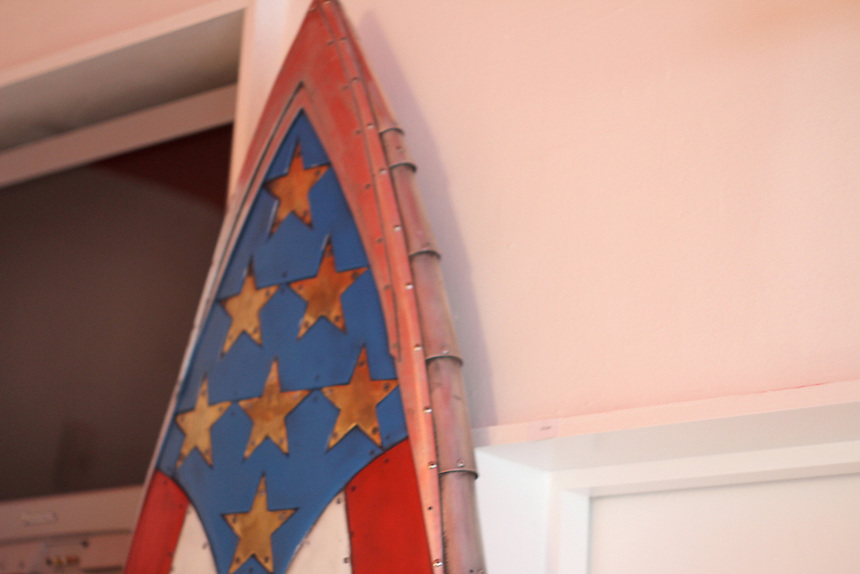captain america's metal surfboard