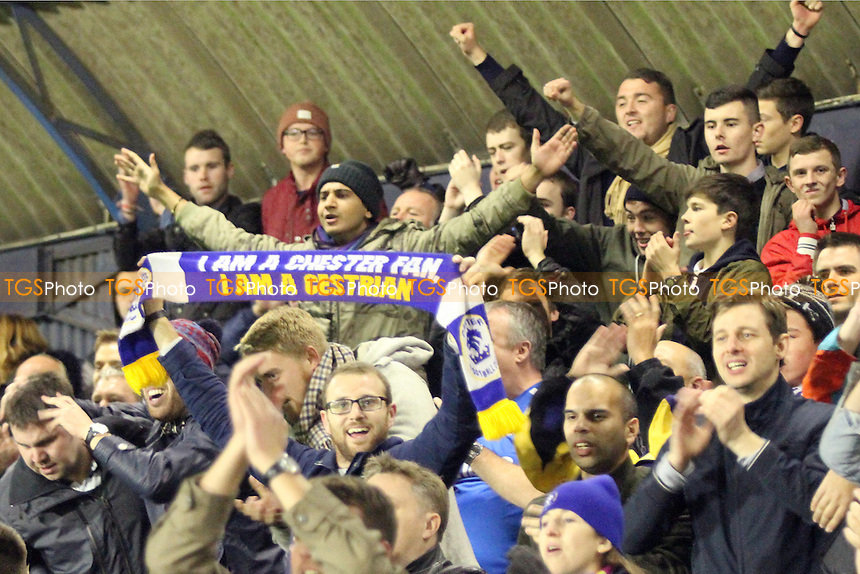 Chester fans celebrate at full time - Southend United vs Chester - FA Challenge Cup 1st Round Football at Roots Hall, Southend on Sea, Essex - 08/11/14 - MANDATORY CREDIT: Mick Kearns/TGSPHOTO - Self billing applies where appropriate - contact@tgsphoto.co.uk - NO UNPAID USE