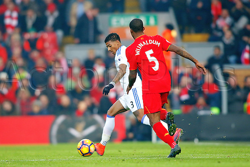 26.11.2016. Anfield, Liverpool, England. Premier League Football. Liverpool versus Sunderland. Patrick van Aanholt of Sunderland is watched by Georginio Wijnaldum of Liverpool
