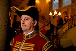 Doggett's Coat and Badge man at the Fishmongers Hall in the City of London. The  Waterman wears his traditional ceremonial uniform 1990s 1992,