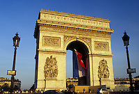 Arc de Triomphe, Paris, Ile de France, France, Europe, The French Flag hangs inside the Arc de Triomphe in Paris at Place Charles de Gaulle Etoile.