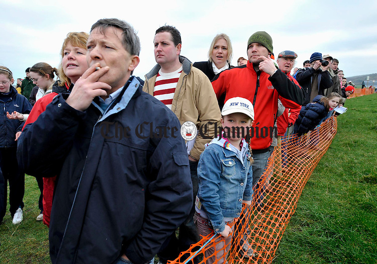 All eyes on the action at the Point to Point in Bellharbour. Photograph by John Kelly.