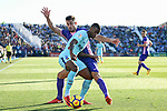 Nelson Cabral Semedo of FC Barcelona (front) fights for the ball with Gabriel Appelt Pires of CD Leganes (back) during the La Liga 2017-18 match between CD Leganes vs FC Barcelona at Estadio Municipal Butarque on November 18 2017 in Leganes, Spain. Photo by Diego Gonzalez / Power Sport Images