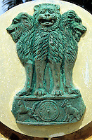 "Asien Indien IND .indisches Staatssymbol - Politik Unabh?ngigkeit Freiheitsbewegung Gewaltlosigkeit Macht Staat indische Union Demokratie L?we L?wen xagndaz | .Asia India .indian state symbol - government power lion democracy .| [copyright  (c) agenda / Joerg Boethling , Veroeffentlichung nur gegen Honorar und Belegexemplar an / royalties to: agenda  Rothestr. 66  D-22765 Hamburg  ph. ++49 40 391 907 14  e-mail: boethling@agenda-fototext.de  www.agenda-fototext.de  Bank: Hamburger Sparkasse BLZ 200 505 50 kto. 1281 120 178  IBAN: DE96 2005 0550 1281 1201 78 BIC: ""HASPDEHH"" ,  WEITERE MOTIVE ZU DIESEM THEMA SIND VORHANDEN!! MORE PICTURES ON THIS SUBJECT AVAILABLE!! INDIA PHOTO ARCHIVE: http://www.visualindia.net] [#0,26,121#]"