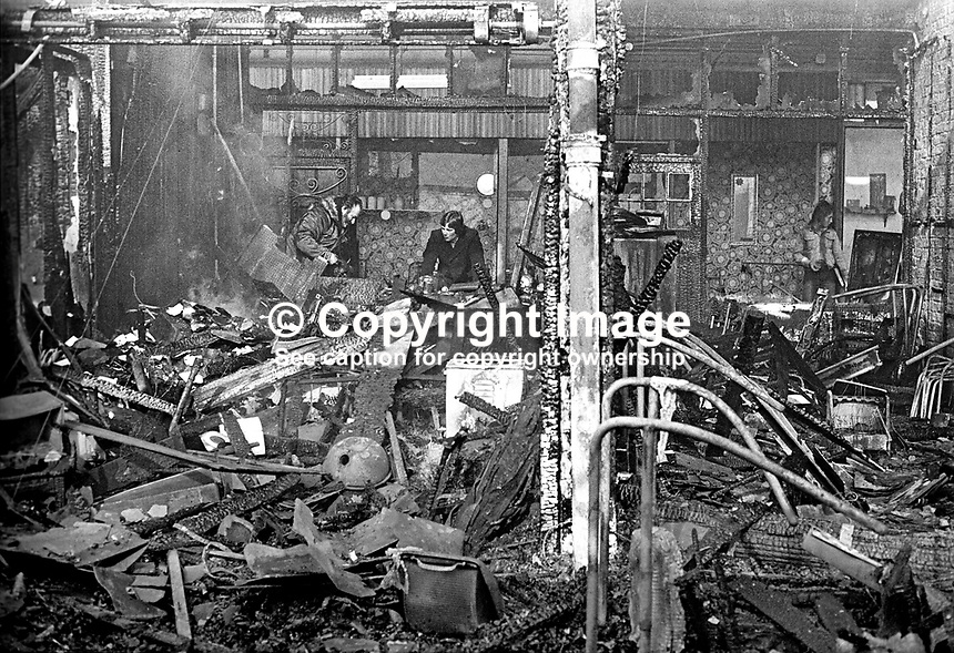 The devastation following a blaze at Smithfield Market, Belfast, N Ireland, UK, May 1974. The market was completely destroyed. 197405000248a<br /> <br /> Copyright Image from Victor Patterson, 54 Dorchester Park, Belfast, UK, BT9 6RJ<br /> <br /> Tel: +44 28 9066 1296<br /> Mob: +44 7802 353836<br /> Voicemail +44 20 8816 7153<br /> Email: victorpatterson@me.com<br /> Email: victorpatterson@gmail.com<br /> <br /> IMPORTANT: My Terms and Conditions of Business are at www.victorpatterson.com