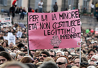 """Se non ora quando?"": manifestazione contro il presidente del consiglio, per il rispetto della dignita' e dei diritti delle donne, a Roma, 13 febbraio 2011..Women attend the ""If not now, when?"" rally against the Italian premier, to ask for respect of their dignity and rights, in Rome, 13 february 2011..The sign, depicting Silvio Berlusconi, reads: ""Under age is not alegitimate impediment for him""..UPDATE IMAGES PRESS/Riccardo De Luca"