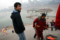 CHINA. Sichuan Province. Chongqing. The Yangtze which is at its lowest level in 150 years as a result of a country-wide drought. Chongqing is a city of over 3,000,000 people, famed for being the capital of China between 1938 and 1946 during World War II. It is situated on the banks of the Yangtze river, China's longest river and the third longest in the world. Originating in Tibet, the river flows for 3,964 miles (6,380km) through central China into the East China Sea at Shanghai.  2008.