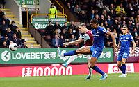 Burnley's Ashley Barnes shoots despite the attentions of Everton's Dominic Calvert-Lewin<br /> <br /> Photographer Rich Linley/CameraSport<br /> <br /> The Premier League - Burnley v Everton - Saturday 5th October 2019 - Turf Moor - Burnley<br /> <br /> World Copyright © 2019 CameraSport. All rights reserved. 43 Linden Ave. Countesthorpe. Leicester. England. LE8 5PG - Tel: +44 (0) 116 277 4147 - admin@camerasport.com - www.camerasport.com