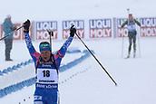 17th March 2019, Ostersund, Sweden; IBU World Championships Biathlon, day 9, mass start women; Ekaterina Yurlova-Percht (RUS)crosses the finish line