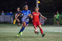 Boston, MA - Sunday September 10, 2017: Margaret Purce, Meghan Klingenberg during a regular season National Women's Soccer League (NWSL) match between the Boston Breakers and Portland Thorns FC at Jordan Field.