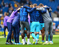 Tottenham Hotspur have a team huddle before kick off during Brighton & Hove Albion vs Tottenham Hotspur, Premier League Football at the American Express Community Stadium on 5th October 2019