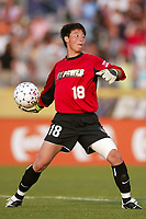 New York Power goalkeeper Gao Hong clears a ball during the Washington Freedom's 4-1 victory over the Power. The game was played on June 29th at Mitchel Athletic Complex, Uniondale, NY.