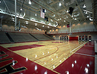 View of an interior basketball court.