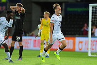 George Byers of Swansea City celebrates scoring his side's second goal during the Carabao Cup First Round match between Swansea City and Northampton Town at the Liberty Stadium in Swansea, Wales, UK. Tuesday 13 August 2019