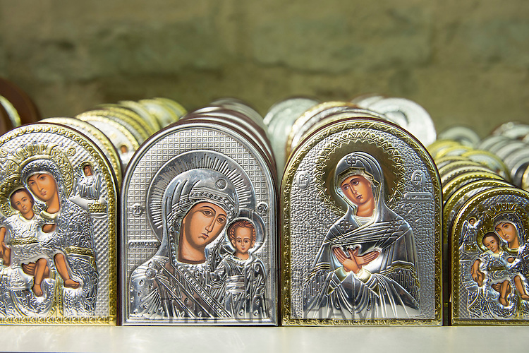Religious icons in Church of St Saviour in Chora, the Kariye Museum St Savior in souvenir gift shop, Istanbul Republic of Turkey