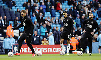Burnley's Chris Wood (left), Dwight McNeil and Steven Defour during the pre-match warm-up <br /> <br /> Photographer Rich Linley/CameraSport<br /> <br /> Emirates FA Cup Fourth Round - Manchester City v Burnley - Saturday 26th January 2019 - The Etihad - Manchester<br />  <br /> World Copyright © 2019 CameraSport. All rights reserved. 43 Linden Ave. Countesthorpe. Leicester. England. LE8 5PG - Tel: +44 (0) 116 277 4147 - admin@camerasport.com - www.camerasport.com