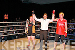 Rumble in Listowel : Referee Sean O'Leary declares a draw in the bout between Michelle Mulvihill & Mary Toomey  in the white collar boxing charity event organized by the Kerry Crusaders in The Listowel Community Centre on Friday night last.