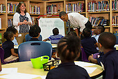 United States President Barack Obama visits a class at Moravia Park Elementary School in Baltimore, Maryland on Friday, May 17, 2013..Credit: Kristoffer Tripplaar  / Pool via CNP