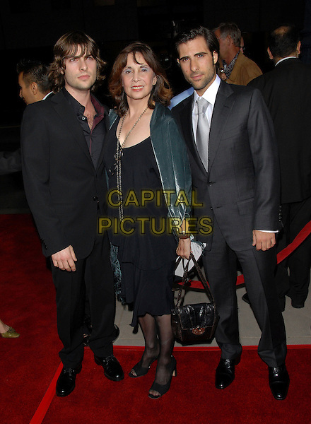ROBERT SCHWARTZMAN, TALIA SHIRE & JASON SCHWARTZMAN.The FOX Searchlight L.A. Premiere of The Darjeeling Limited held at The Academy of Motion Picture Arts & Sciences in Beverly Hills, California, USA..October 4th, 2007 .full length grey gray suit black dress bag purse.CAP/DVS.©Debbie VanStory/Capital Pictures