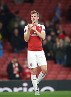 Rob Holding of Arsenal during the UEFA Europa League match group between Arsenal and Vorskla Poltava at the Emirates Stadium, London, England on 20 September 2018. Photo by Andrew Aleks / PRiME Media Images.