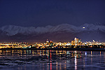 Anchorage, Alaska, at night across from Cook Inlet.