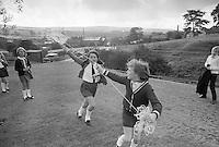 Flying a kite, Whitworth Comprehensive School, Whitworth, Lancashire.  1970.