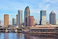 View of the Tampa skyline and convention center with the Hillsborough River in the foreground