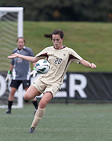 Boston College defender Zoe Lombard (20) lines up incoming ball. Pepperdine University defeated Boston College,1-0, at Soldiers Field Soccer Stadium, on September 29, 2012.