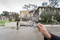 Occidental College staffer Dominic Alletto, assistant director career education & counseling in the Career Center, takes a stroll with his dog in the JSC quad,  Jan. 10, 2017. Photo taken for Oxy's Instagram account, featuring a 1949 photo of snow on campus from the archive.<br /> (Photo by Marc Campos, Occidental College Photographer)