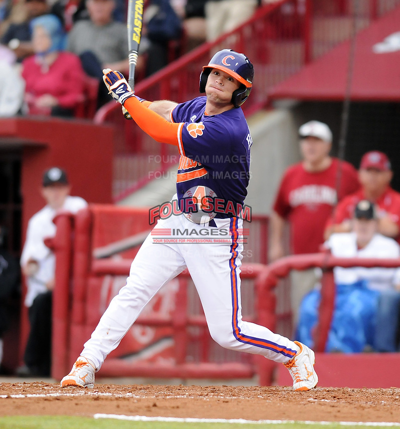 Outfielder Thomas Brittle (4) of the Clemson Tigers in a game against the South Carolina Gamecocks on March 3, 2012, at Carolina Stadium in Columbia, South Carolina. Carolina won, 9-6. (Tom Priddy/Four Seam Images)