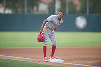 AZL Reds shortstop Urwin Juaquin (2) stands on third base during the game against the AZL Athletics on July 16, 2017 at Lew Wolff Training Complex in Mesa, Arizona. AZL Athletics defeated the AZL Reds 13-5. (Zachary Lucy/Four Seam Images)